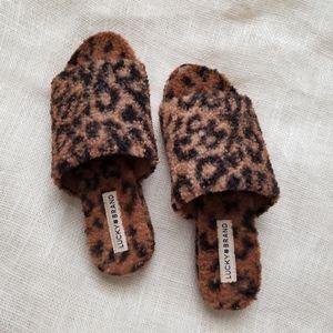 Lucky Brand Faux Fur Animal Print Slip-on Slide